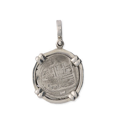 Taffi Fisher Collection 1 Reale Atocha Re-creation Silver Coin, Double Prong, Cross Side