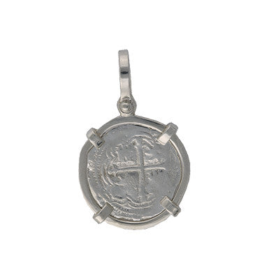 Taffi Fisher Collection 1 Reale Atocha Re-creation Silver Coin, Single Prong, Cross Side