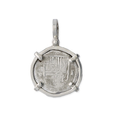 Taffi Fisher Collection 1 Reale Atocha Re-creation Silver Coin, Single Prong, Shield Side
