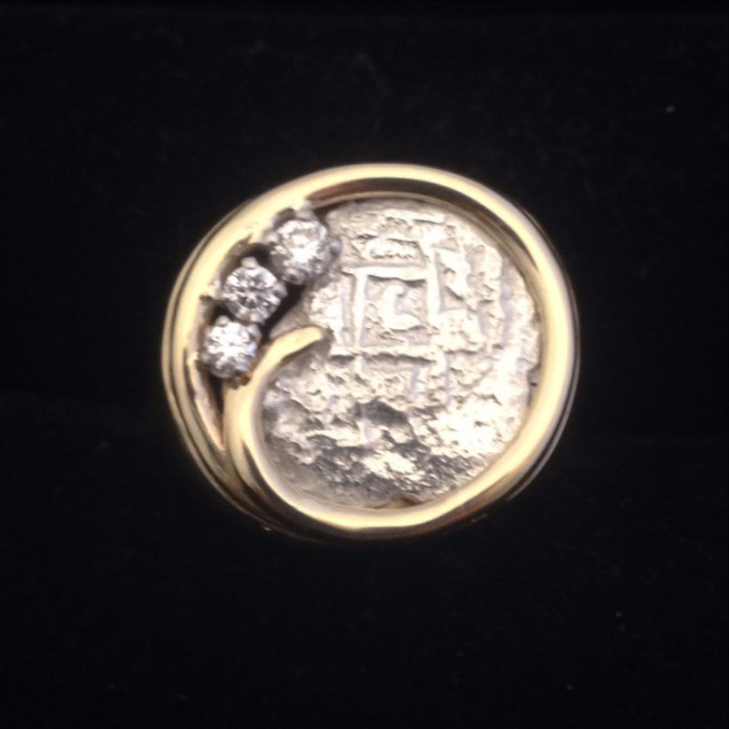 Authentic Atocha Silver Coin, Grade 5, 2 Reales, Mounted in 14K Gold Ring with .16 ct Diamonds
