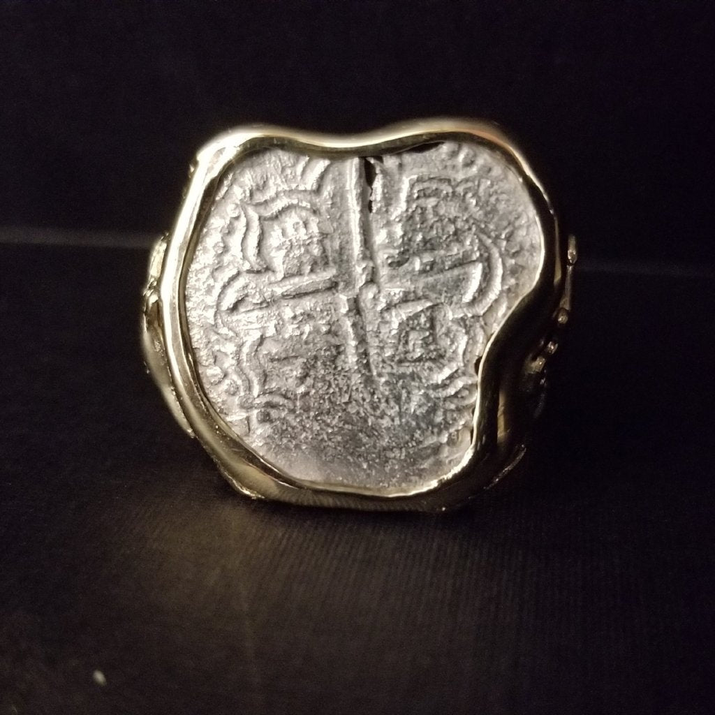 Authentic Margarita Silver Coin, Grade 3, 2 Reales, Mounted in 14K Gold Ring