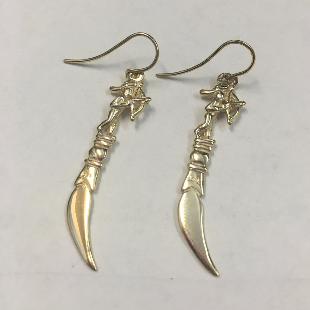 14K Gold Cupid Toothpick Earrings