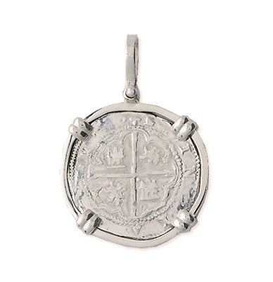 Taffi Fisher Collection 2 Reales  Atocha Re-creation Silver Coin, Double Prong, Cross Side