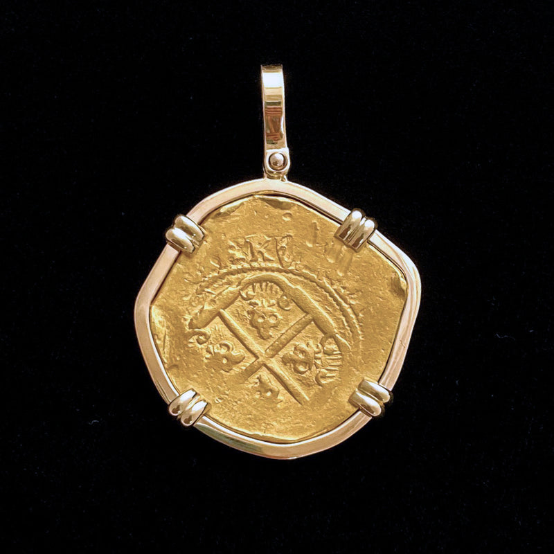 1715 Fleet 8 Escudos Gold Coin mounted in 18k gold