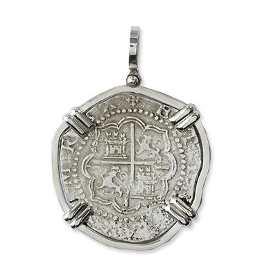 Taffi Fisher Collection 4 Reales  Atocha Re-creation Silver Coin, Double Prong, Cross Side