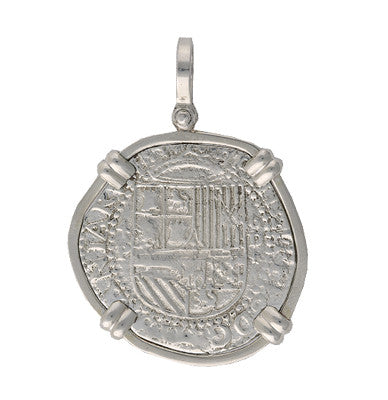 Taffi Fisher Collection 4 Reales  Atocha Re-creation Silver Coin Double Prong, Shield Side