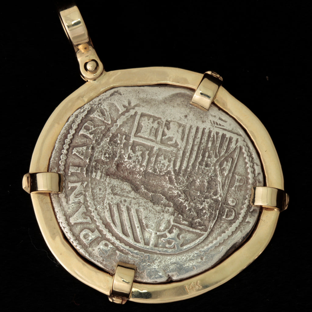 Rare, Authentic Atocha  Silver Coin, Grade 1, 4 Reales, Mounted in 14K with Diamond Accents