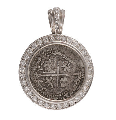 Authentic Atocha Grade 1, 2 Reales Coin Pendant in 14K White Gold with 2.08 Carat Diamond  Mount, Shipwreck Coin