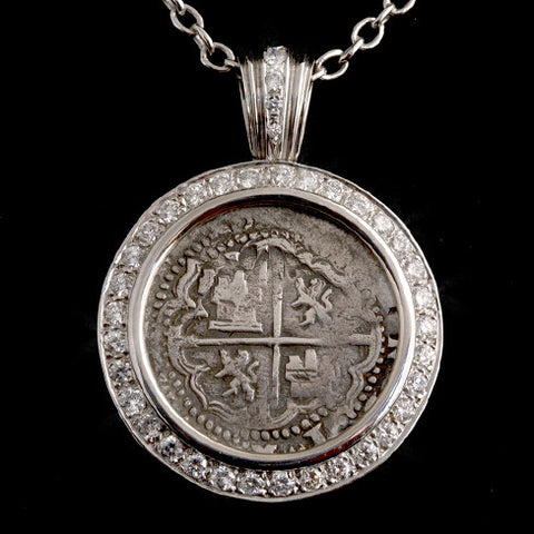 Authentic Atocha Silver Coin, Grade 1, 2 Reales, RARE ASSAYER, Mounted in 14K White Gold and Diamonds