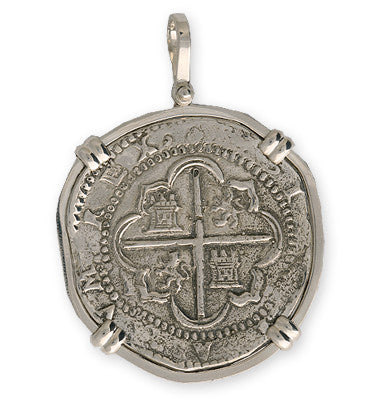Taffi Fisher Collection 8 Reale Atocha Re-creation Silver Coin Double Prong, Cross Side