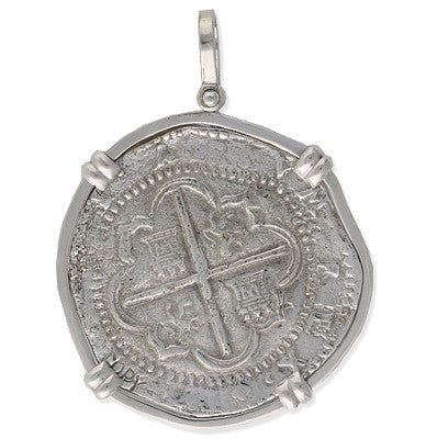 Taffi Fisher Collection 8 Reale Atocha Re-creation Silver Coin Double Prong, Shield Side