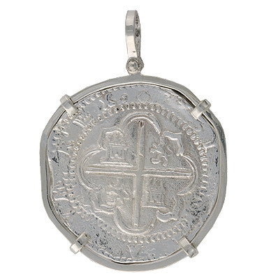 Taffi Fisher Collection 8 Reale Atocha Re-creation Silver Coin Single Prong, Cross Side