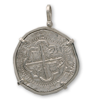 Taffi Fisher Collection 8 Reale Atocha Re-creation Silver Coin, Single Prong, Shield Side