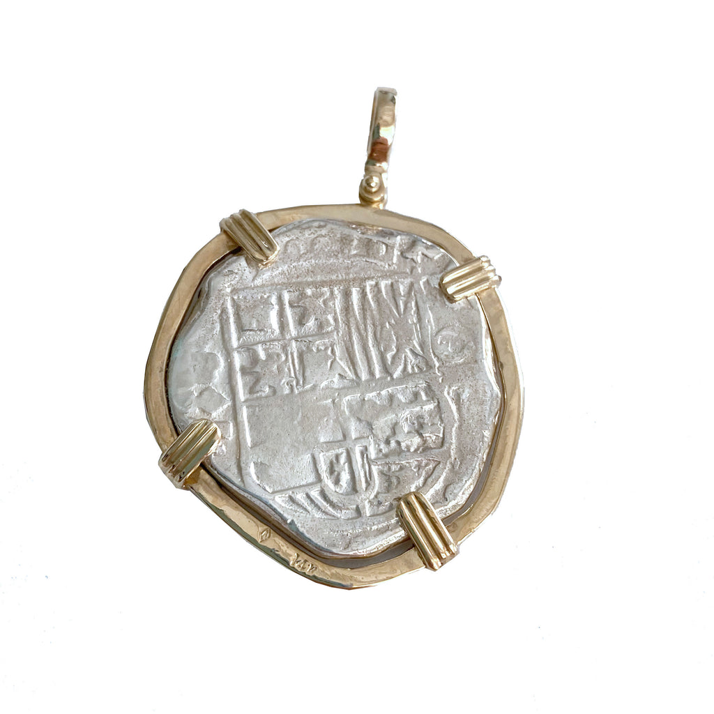Atocha Re-creation Coin Pendant 8 Reales Double Prong in 14K Gold Mount