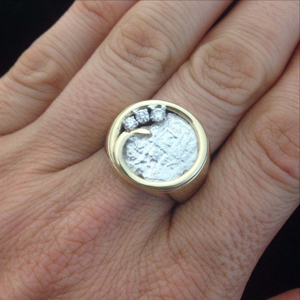 Authentic Atocha Silver Coin, Grade 5, 2 Reales, Mounted in 14K Gold Ring with Diamonds