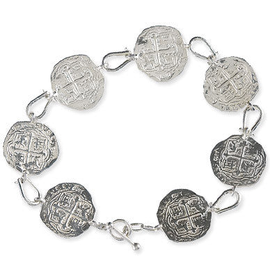 Atocha Re-creation Coin Sterling Silver Shackle Bracelet