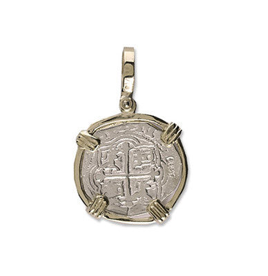 Atocha Re-creation Coin Pendant 1 Reale Double Prong in 14K Gold Mount