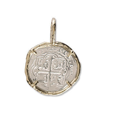 Atocha Re-creation Coin Pendant 1 Reale Single Prong in 14K Gold Mount