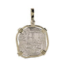 Atocha Re-creation Coin Pendant 2 Reales Double Prong in 14K Gold Mount