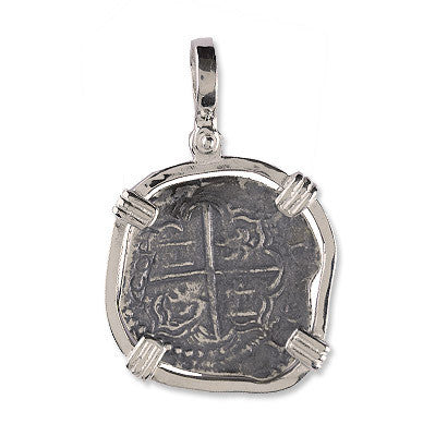 Atocha Re-creation Coin Pendant 2 Reales  Double Prong in Sterling Silver