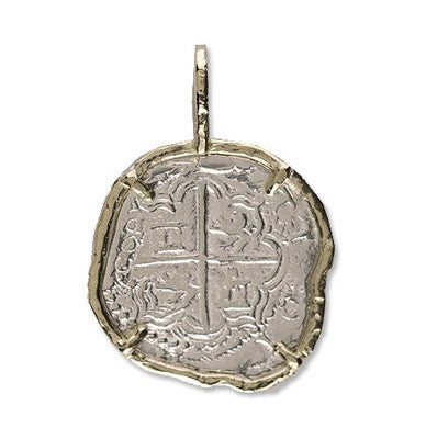 Atocha Re-creation Coin Pendant 2 Reales Single Prong in 14K Gold Mount