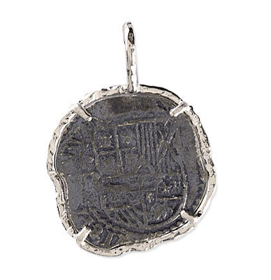 Atocha Re-creation Coin Pendant 2 Reales Single Prong in Sterling Silver
