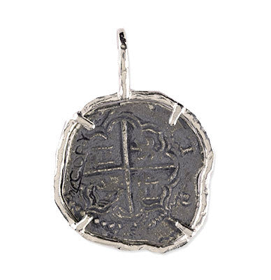 Atocha Re-creation Coin Pendant 2 Reale Single Prong in Sterling Silver