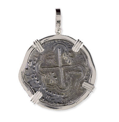 Atocha Re-creation Coin Pendant 4 Reales  Double Prong in Sterling Silver