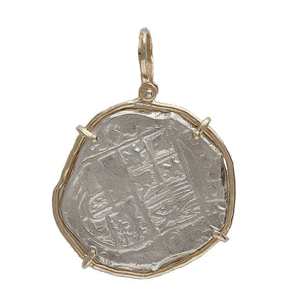 Atocha Re-creation Coin Pendant 8 Reales Single Prong in 14K Gold Mount