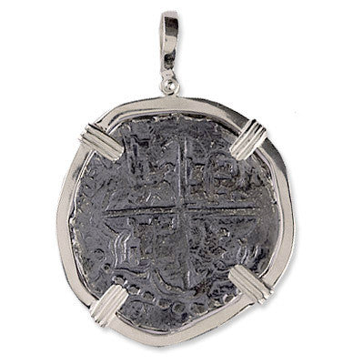 Atocha Re-creation Coin Pendant 8 Reales Double Prong in Sterling Silver