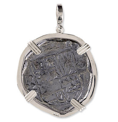 Atocha Re-creation Coin Pendant 8 Reale Double Prong in Sterling Silver