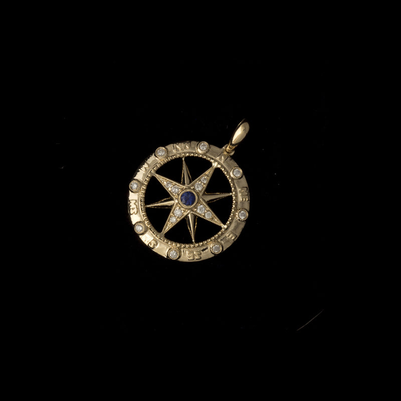 14K Gold Compass Rose Pendant with Diamonds and Sapphire
