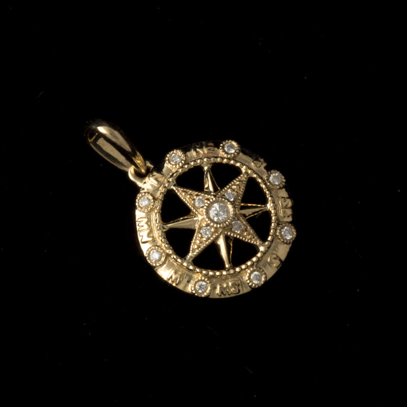 14K Gold Compass Rose Pendant with Diamonds