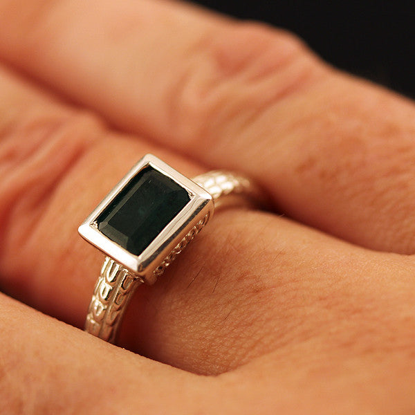 Sterling Silver Emerald Box Ring Atocha Re-creation