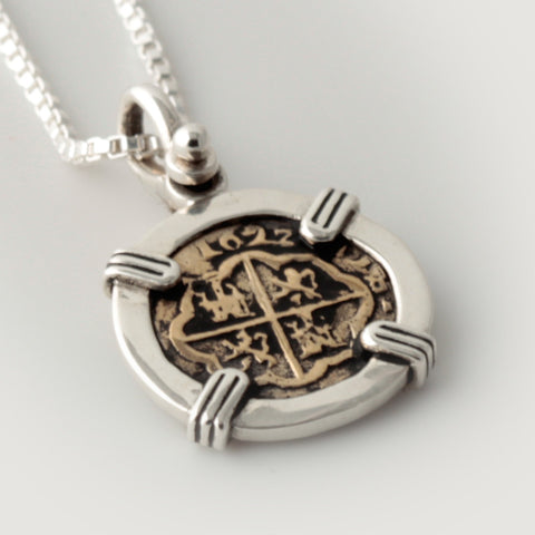 Atocha Re-creation Coin Pendant 1/2 Reale Double Prong in Sterling Silver
