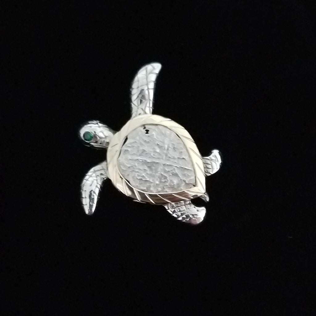 Authentic  Atocha  Silver Coin, Grade 4 , 2 Reales Mounted in 14K/SS turtle mount w /EME