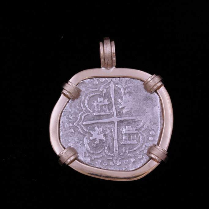 Authentic Atocha Silver Coin, Grade 1 , 2 Reales mounted in 14K bezel