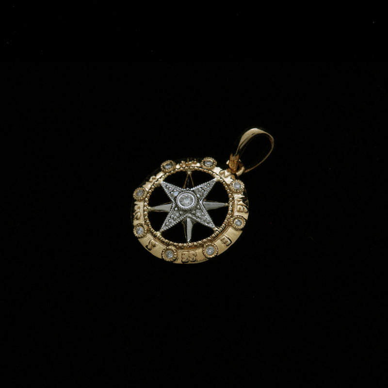 14K Gold and White Gold Compass Rose Pendant with Diamonds
