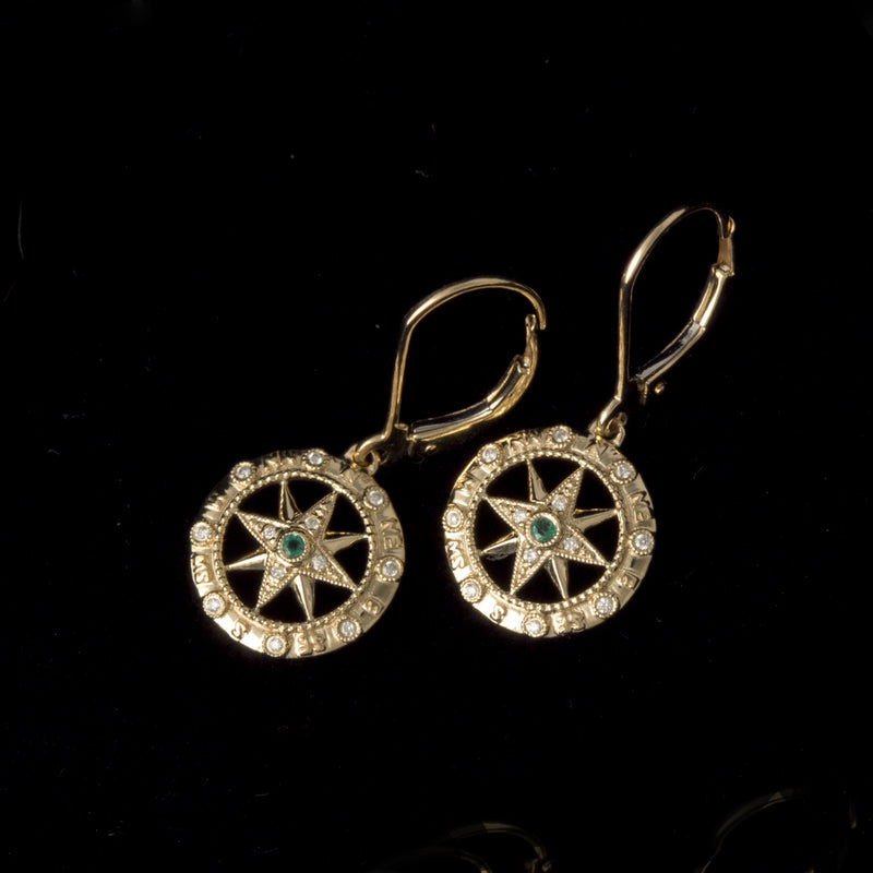 14K Gold Compass Rose Earrings with Emeralds and Diamonds