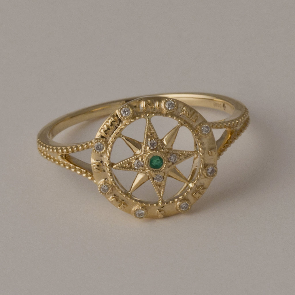 14K Gold Compass Rose Ring with Emerald Diamonds
