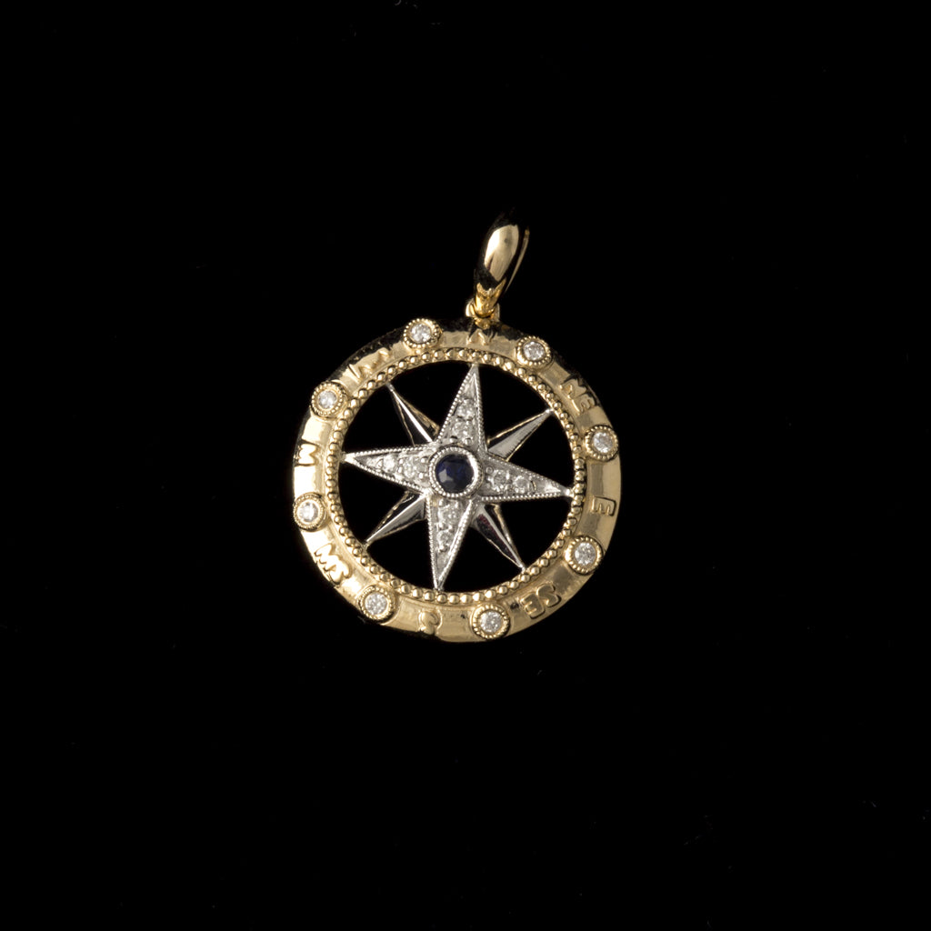14K Gold Compass Rose Pendant with Diamonds and Sapphire Medium Size