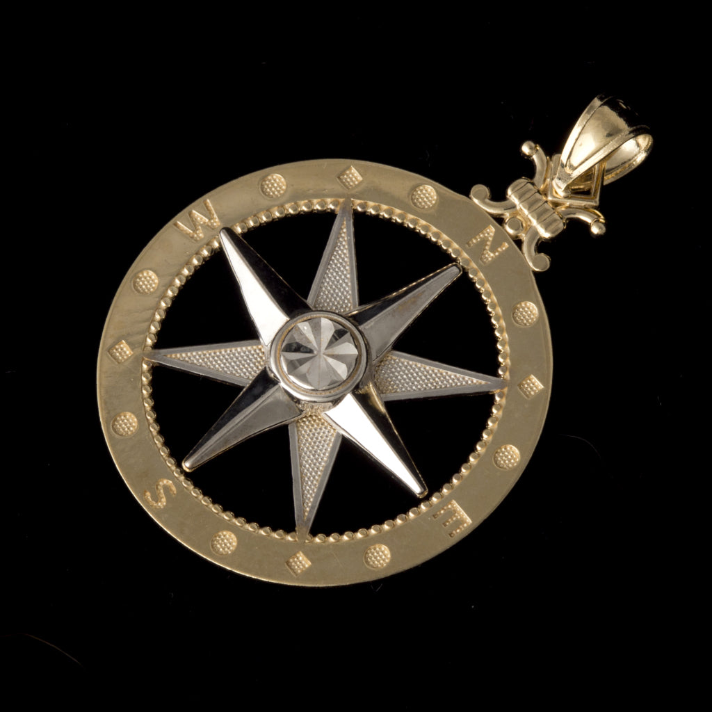 14K Yellow / White Gold Large Compass Pendant