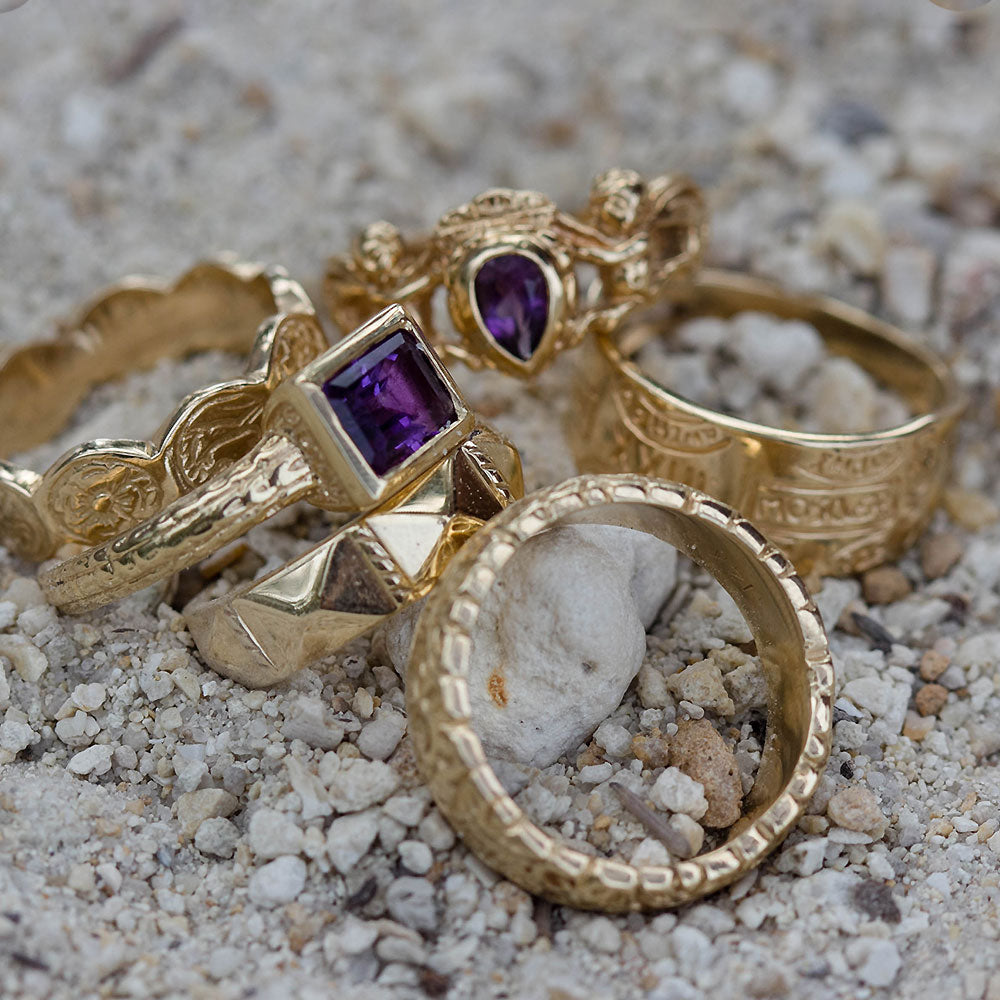 14K Gold Amethyst Box Ring Atocha Re-creation