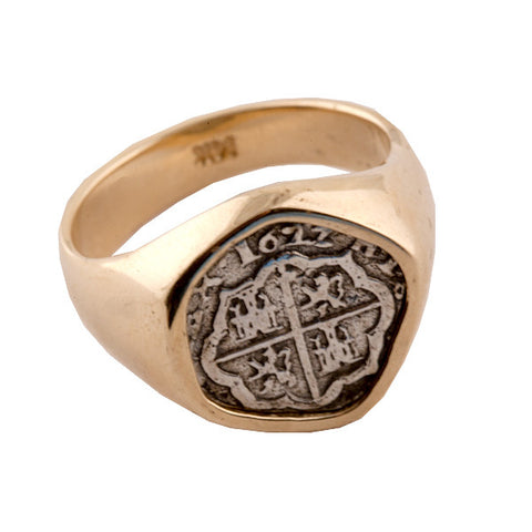 Atocha Re-creation Silver Coin 14k Gold Ring
