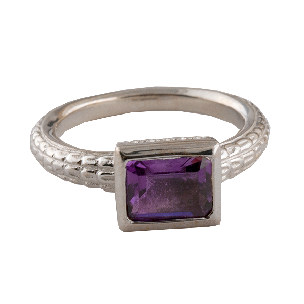 Sterling Silver Amethyst Box Ring Atocha Re-creation