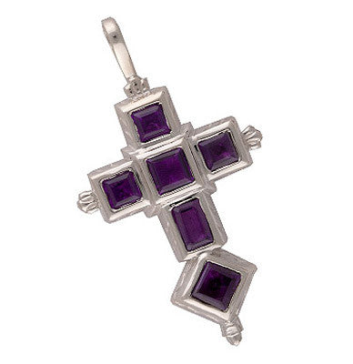 Spanish Galleon Shipwreck Re-creation Sterling Silver Cross with Amethyst - Large