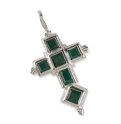 Spanish Galleon Shipwreck Re-creation Sterling Silver Cross with Emeralds - Large
