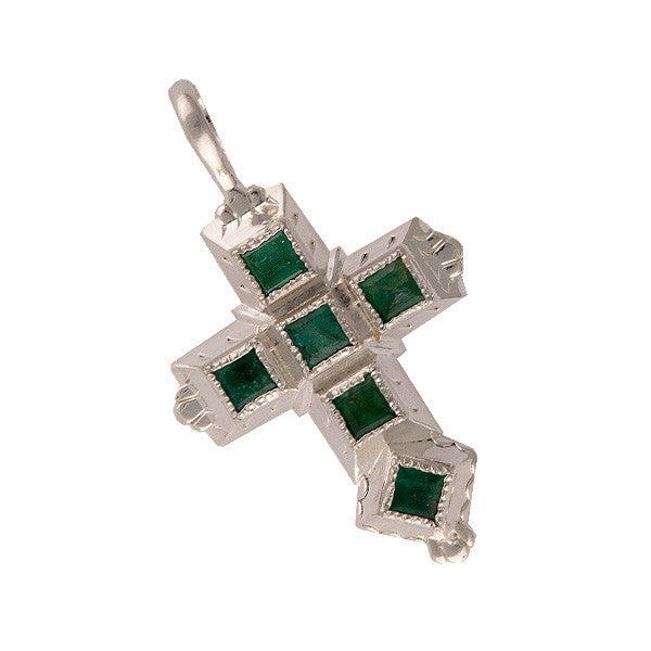 Spanish Galleon Shipwreck Re-creation Sterling Silver Cross with Emeralds - Small