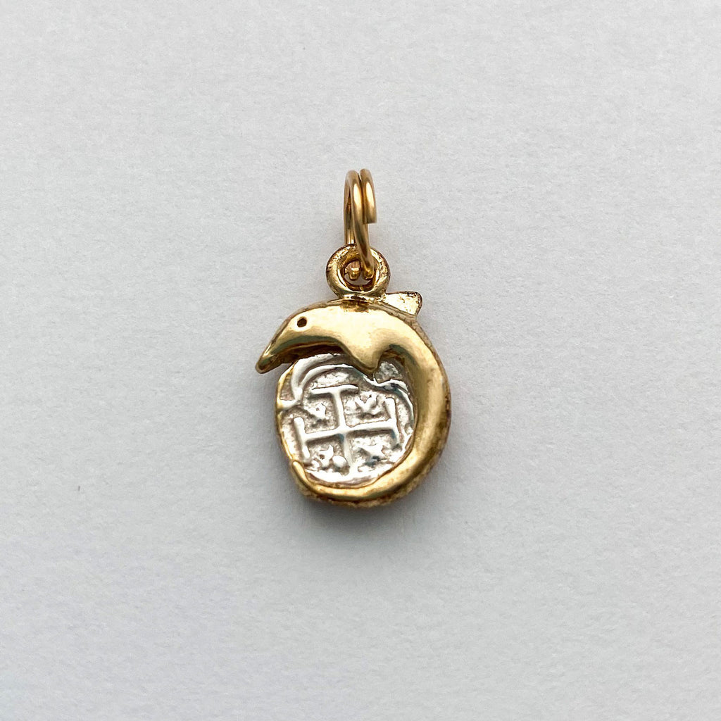 Shipwreck Jewelry Collection, Small coin pendant with Dolphin