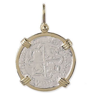 Shipwreck Jewelry Collection, Piece of Eight Atocha Coin Re-creation Large Pendant with gold plated wrap